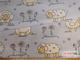 "Ситец, хлопок, рисунок: ""белые овечки на голубом"", ширина 95 см"