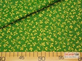 """Ситец, хлопок, рисунок: """"жёлтые листья на зелёном"""", ширина 80 см"""