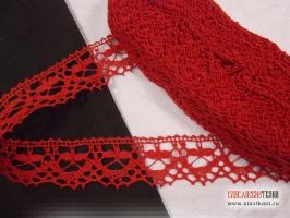 Кружево льняное, цвет красный, ширина 35 мм