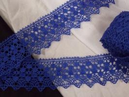 Кружево льняное, цвет синий, ширина 52 мм