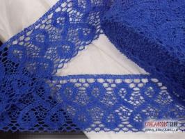 Кружево льняное, цвет синий, ширина 70 мм