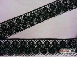 Кружево из льна, цвет: чёрный, ширина 75 мм