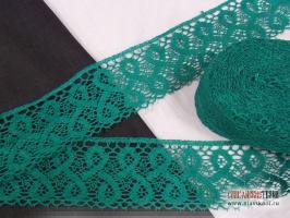 Кружево из льна, цвет: зелёный, ширина 75 мм