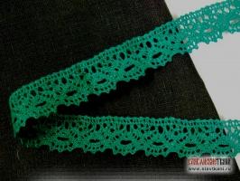 Кружево льняное, цвет зелёный, ширина 23 мм
