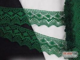 Кружево льняное, цвет зелёный, ширина 52 мм