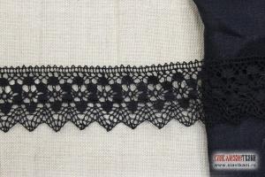 """Кружево из льна, цвет черный, рисунок """"сетка цветок"""", ширина 56 мм"""