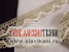 Кружево из льна, цвет серый/белый, ширина 31 мм