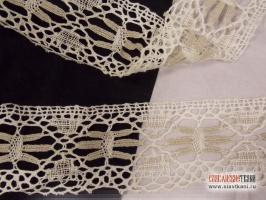 Кружево из льна, цвет белый/серый, ширина 75 мм
