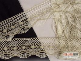 Кружево из льна, цвет: серый/белый, ширина 90 мм