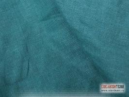 Лён, цвет тёмно-бирюзовый, ширина 150 см