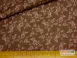 """Лён, рисунок """"розововая ветка листьев на коричневом"""", ширина 150 см."""