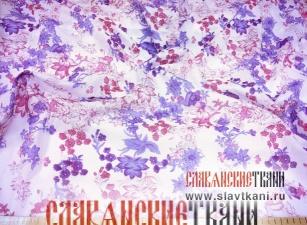 """Батист, хлопок, набивной рисунок """"голубые-розовые цветы"""", ширина 140 см"""