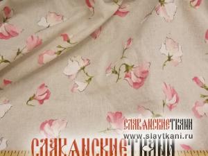 """лён/хлопок, рисунок """"розовые цветы горошка на сером"""", шириан 150 см"""