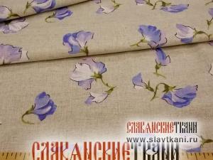 """лён/хлопок, рисунок """"синие цветы горошка на сером"""", шириан 150 см"""