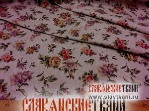 """лён/хлопок, рисунок """"цветы на сером"""", ширина 150 см"""