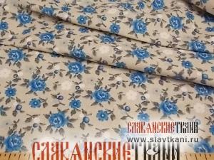 "лён/хлопок, рисунок ""синяя роза на сером"", ширина 150 см"