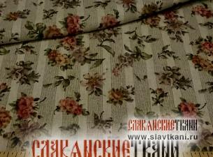 """лён/хлопок, рисунок """"пастельные цветы на сером, с разряжёной полоской"""", ширина 150 см"""