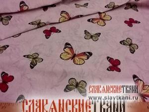 """лён/хлопок, рисунок """"бабочки на серых цветах"""", ширина 150 см"""