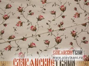 """лён/хлопок, рисунок """"розовые розы на светло-сером"""", ширина 150 см"""