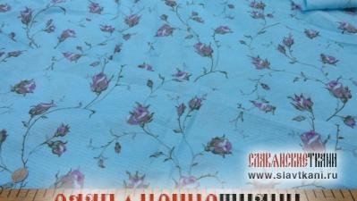 """лён/хлопок, рисунок """"розовые розы на голубом"""", ширина 150 см"""