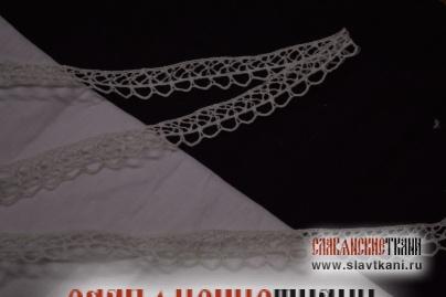 Кружево из льна, цвет белый, ширина 16 мм