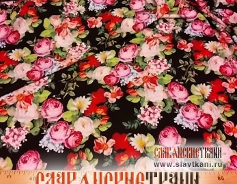 "Вискоза, рисунок ""розы на чёрном"", ширина 140 см"