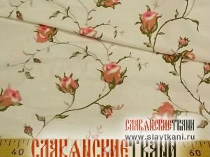 """Чесуча, хлопок, рисунок """"розовые розы на белом"""", ширина 150 см"""