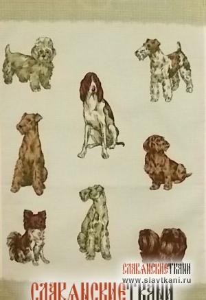 "Салфетка, хлопок, рисунок ""атлас собак"", размер 60х40 см."
