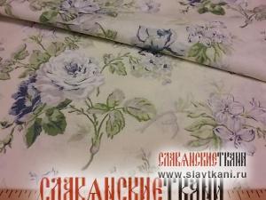 """Скатерть, лён, рисунок """"цветы на кремовом"""", размер 144х120 см."""