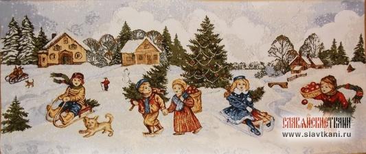 "Декоративная наволочка, гобелен, рисунок ""Рождество"", 30х70 см."