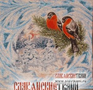 """Декоративная наволочка, гобелен, рисунок """"красные снегири"""", 35х35 см."""