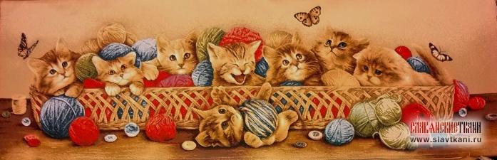 """Декоративная наволочка, гобелен, рисунок """"Котята в корзине"""", 85х30 см."""