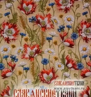 "Декоративная наволочка, гобелен, рисунок ""Летние цветы на бежевом"", 40х43 см."