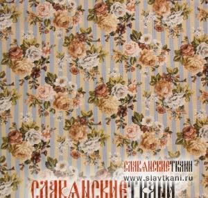 """Декоративная наволочка, гобелен, восточный, рисунок """"Чайная роза на голубой полоске"""", 42х44 см."""