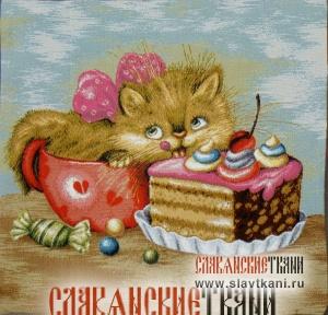 """Декоративная наволочка, гобелен, восточный, рисунок """"Кошка сластёна"""", 45х45 см."""