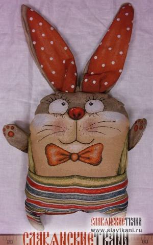 """Подушка с наполнителем, гобелен, рисунок """"Заяц в штанишках"""", 35х30 см"""
