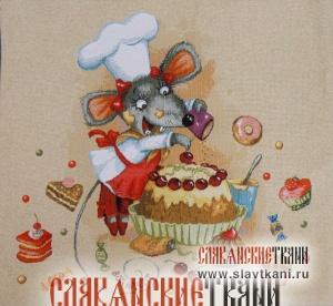 """Декоративная наволочка, гобелен, восточный, рисунок """"Мышка и торт"""", 48х44 см."""