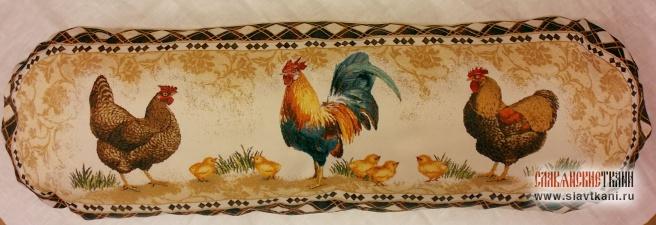 """Подушка с наполнителем, гобелен, рисунок """"Петушок с курочками"""", 30х78 см"""