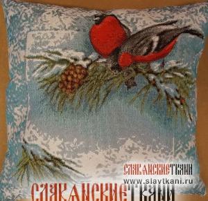 """Декоративная подушка с наполнителем, гобелен, рисунок """"красные снегири"""", 35х35 см."""