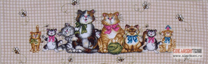 "Декоративная наволочка, гобелен, рисунок ""Кошки и пчёлы"", 20х63 см."