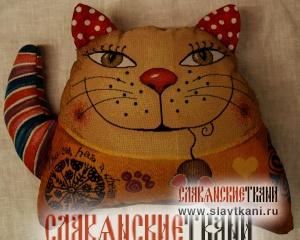 """Подушка с наполнителем, гобелен, рисунок """"Кот с полосатым хвостом"""", 38х28 см"""
