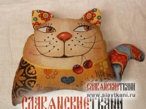 """Подушка с наполнителем, гобелен, рисунок """"Кот с волнистым хвостом"""", 38х28 см"""