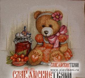 "Декоративная наволочка, гобелен, рисунок ""Медвежонок и варенье"", 45х45 см."