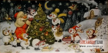 "Декоративная наволочка, гобелен, рисунок ""Новогодняя год на дворе"", 33х64 см."