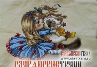 "Декоративная наволочка, гобелен, рисунок ""Девочка с котёнком"", 44х63 см."