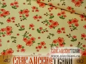 """Бязь, хлопок, рисунок """"красные цветы на кремовом"""", ширина 150 см"""