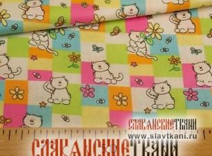 """Бязь, хлопок, детский рисунок """"белые кошки на пастельных квадратах"""", ширина 150 см"""