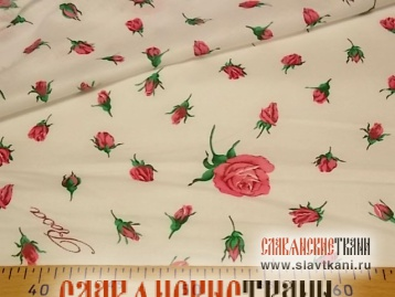 """Бязь, хлопок, рисунок """"бутоны роз на белом"""", ширина  220 см"""