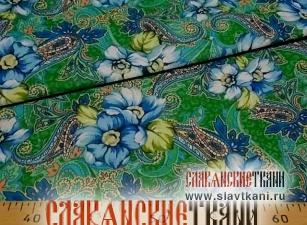 """Бязь, хлопок, рисунок """"голубые цветы с восточным огурецом на изумрудном"""", ширина 150 см"""