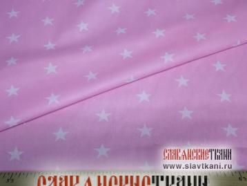 """Бязь, хлопок, рисунок """"белые звёзды на светло-фиолетовом"""", ширина 150 см"""